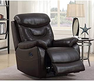 Thomas Premium Top Grain Leather Power Recliner Chair Brown Transitional Solid Handmade
