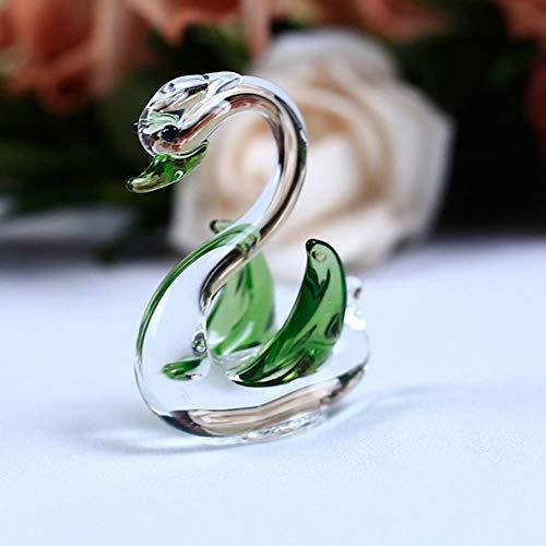 Crystal handgemaakte Swan ambachten glazen tuin Mini dieren beeldjes vogeltje Ornament Home Decor geschenken Trinket, groen