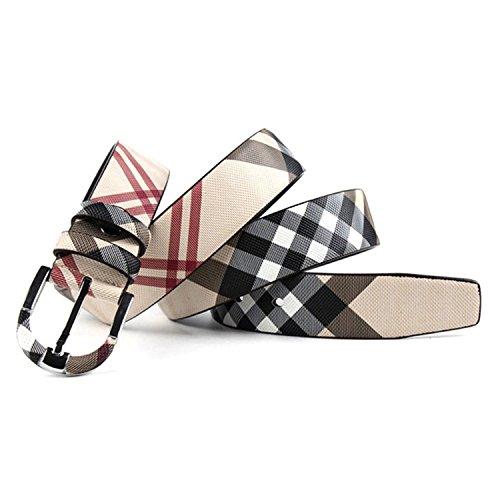 Carolyn Jones Plaid Designers Luxury Cowhide Brand Women Genuine Leather Pin Buckle Belt For Mens (M, White)