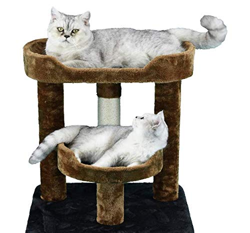 "Mix.Home Brown and Blue 23"" Cat Tree with Perch and Bed. Best Choice for Your Pets. Kitty Posts. Cat's Stands. Best Cat Bed & Trees & Condos. Pet's Playground."