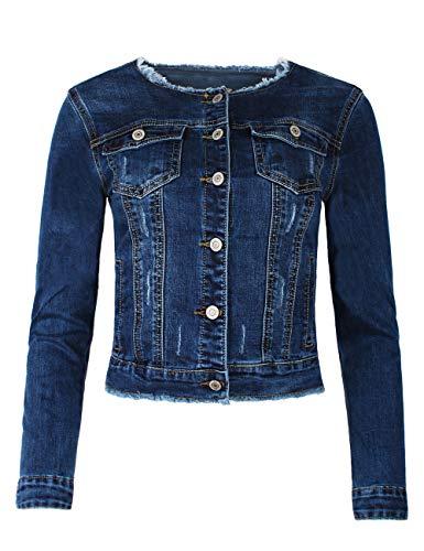 Fraternel Damen Jeansjacke ausgefranst Vintage Stretch Blau XL / 42