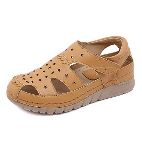 Sandalias ortopédicas para Mujer Mulas Antideslizantes cómodas Zapatos con Correa de Tobillo con cuña de Verano Zapatos Huecos con Correa de Tobillo cómodos de Verano