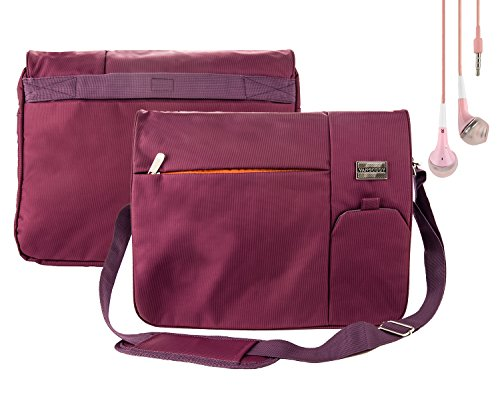 Travel TSA Plum Purple Messenger Carrying Bag with Lightweight Earbuds for Lenovo 15.6 inch Laptops (IdeaPad, Flex, Thinkpad, Edge
