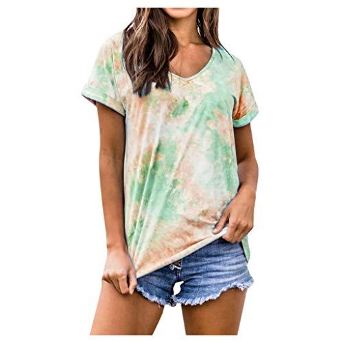 Yowablo Tunique à Manches Courtes et col en O pour Femme T-Shirt Tunique Blouse Débardeurs Femmes Col Rond Dégradé Imprimé sans Manches (XL,Vert)