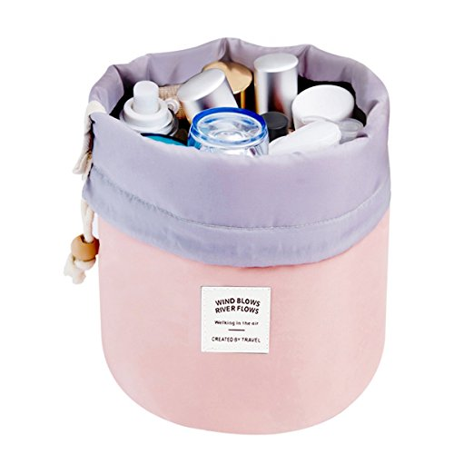 Makeup Bag, YJQueen Travel Makeup Cosmetic Pouch Portable Handbag Toiletry Case Mini Makeup Train Case Cosmetic Bag Cosmetic Organizer Travel Accessories (Pink)
