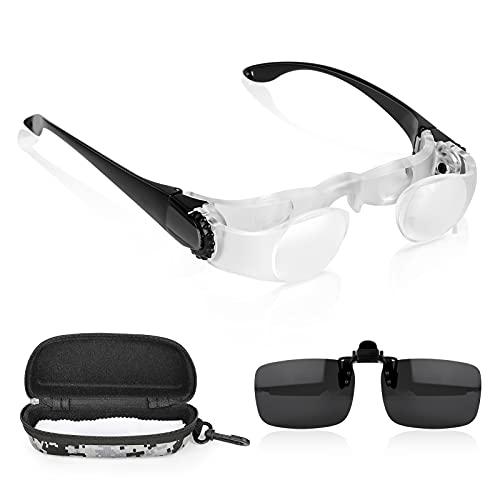 Bestcool Gafas binoculares para pesca, telescopio de aumento manos libres, 4 aumentos, prismáticos ajustables para pesca, turismo, deportes, señales de calle