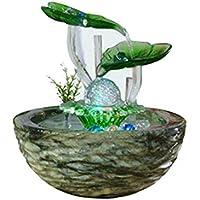ZOUQILAI Fuente de Agua de Lirio de Agua for Interiores: el tamaño pequeño lo Convierte decoración de Mesa - Fuente portátil compacta y Liviana for Interiores y Exteriores