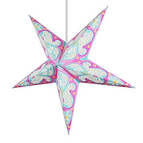 Zi Yang Origami Estrella Lámpara de Techo nórdico Minimalista Personalidad Creativo Cuarto Luz de Cama Lámpara Colgante E27 * 1 Comedor Sala de Estar Cafetería Restaurante Bar Candelabro Ø55cm,Rosado