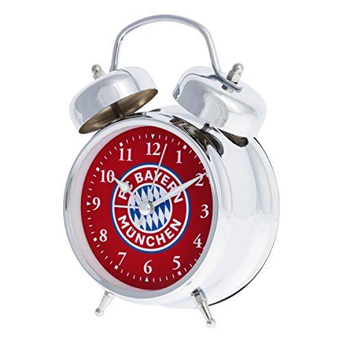 Bayern München Soundwecker Glocken, Wecker silbern, Retro Uhr kompatibel FCB - Plus Lesezeichen I Love München