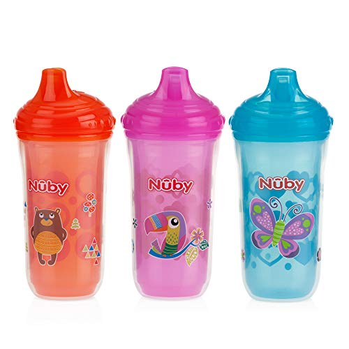 Price comparison product image Nuby 3 Piece Insulated No Spill Easy Sip Cup with Vari-Flo Valve Hard Spout,  Girl,  9 Oz