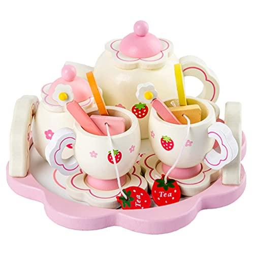 jojofuny Holz Tee- Set Kinder Tee Ware Spielzeug Kinder Pretend Spielen Lebensmittel Küche Set Holz Tee Tasse Spielzeug ( Zubehör für Gelegentliche Farbe )