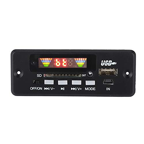 ASHATA MP3 Bluetooth Decoder Board, Scheda di Decodifica Audio MP3 per Auto Modulo Radio FM Audio,Bluetooth Modulo di Decodifica Audio Digitale con Telecomando, Supporto SD/FM/AUX/USB(Nero)