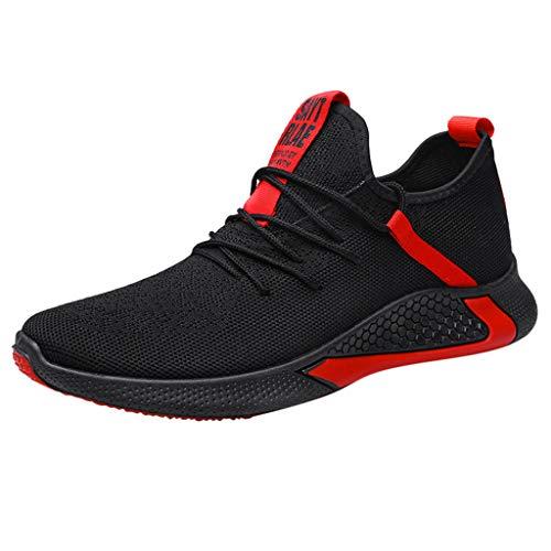 Chaussures de Sports Course Sneakers Hommes Respirant à Lacets Décontracté Maille Tissé Mouche Mode Outdoor Run Shoes Baskets (38 EU, Rouge)