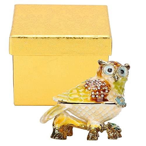 FECAMOS Caja de Almacenamiento de Esmalte de búho, Caja de joyería de Esmalte Estable, Lujosa con Textura con Diamantes de imitación para Poner Algunas Joyas pequeñas