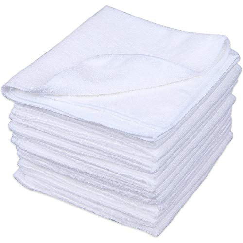 Cartman Microfiber Cleaning Cloth, All Purpose Cleaning Towels,14 x 14 Inch, Pack of 30, White