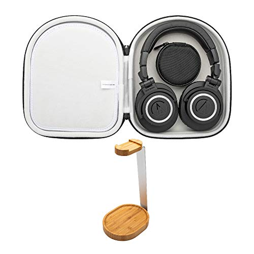 Audio Technica ATH-M50X BT Bluetooth Wireless Headphones Bundle with Knox Gear Wooden Stand and Protective Case Bundle (3 Items)