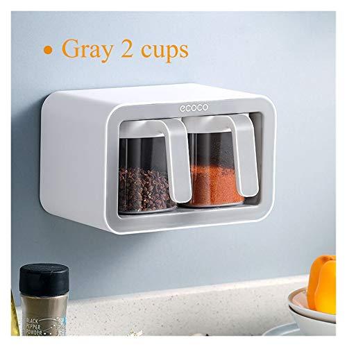 SHOUNAO Montaje de Pared Spice Rack Organizador Sugar Cuenco Salero Seconador Condimento Contenedor Cajas de Especias con cucharas Suministros de Cocina Set de Almacenamiento (Color : Gray 2 Cups)