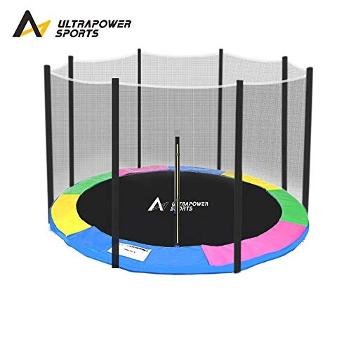 ULTRAPOWER SPORTS 8FT 10FT 12FT 13FT 14FT Replacement Trampoline Safety Net Enclosure Surround And Spring Cover Padding Pads - Rainbow 10FT 6 poles