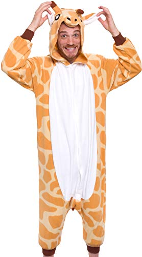 Silver Lilly Giraffe One Piece Animal Costume - Unisex Adult Plush Cosplay Pajamas (Giraffe, XL)
