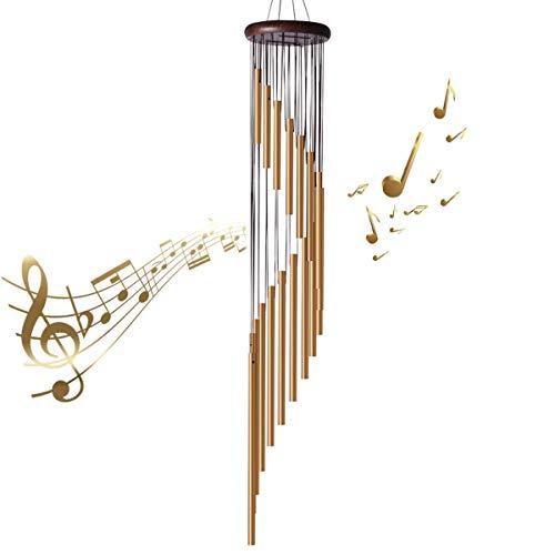 ABREOME Windspiel Chimes , Klangspiele Windspiele Deko mit Klang Aluminium groß Gesamtlänge 91cm für draußen Balkon Garten, golden