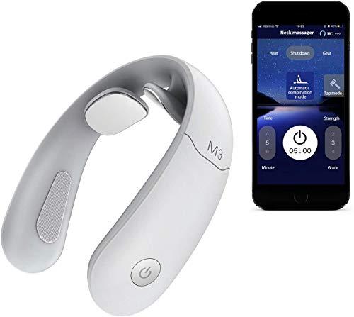 Intelligentes Nackenmassagegerät,Handy-Kontroll Massagegerät für Nacken mit Wärme,Tiefenmassage zur Schmerzlinderung, Kabellos Tragbares 3D-Massagegerät,Verwendung zu Hause,im Auto,im Büro… (Weiß)