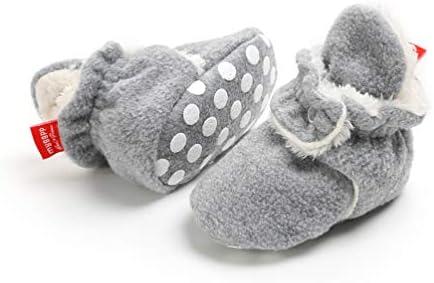 EDOTON Botas de Niño Calcetín Invierno Soft Sole Crib Raya de Caliente Boots de Algodón para Bebés (6-12 Meses, Gris)