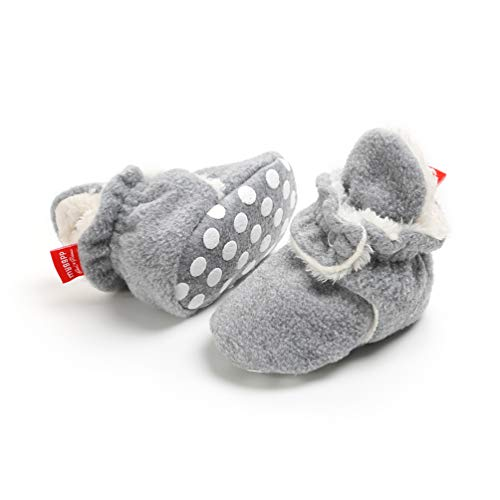 EDOTON Unisex Neugeborenes Schneestiefel Weiche Sohlen Streifen Bootie Kleinkind Stiefel Niedlich Stiefel Socke Einstellbar (0-6 Monate, Grau)