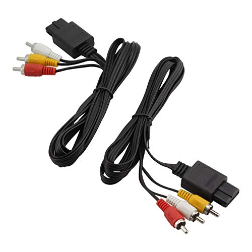 ZRM&E 2pcs N64 to 3 RCA AV Cable Game Video System 6FT Audio TV S-Video Cord Adapter Cable for Gamecube NGC/SFC/SNES Connectors 1.8m