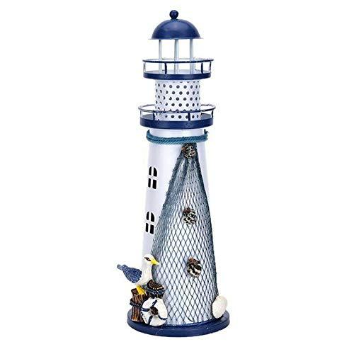 Avalita mediterraner Stil Elektronischer Leuchtturm mit Farbwechsel LED Leuchtturm Laterne Licht Dekoration, Large