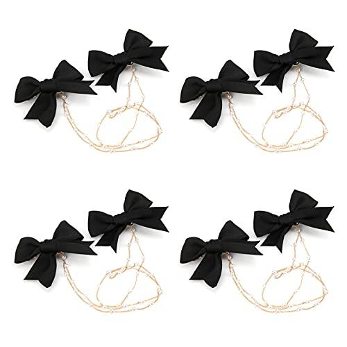 QIRG Clips de moños, Horquillas de moño Negro Elegantes para el Trabajo, Vacaciones Escolares para niñas, Fiestas, cumpleaños, Banquetes(Arco Doble Corto)