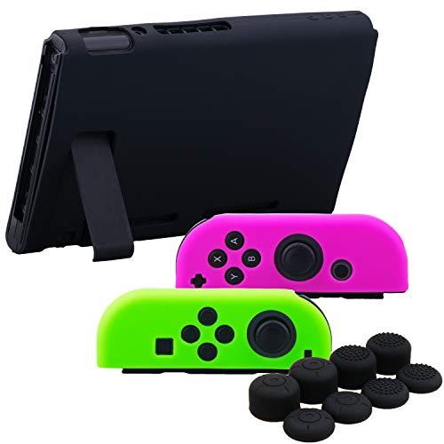 YoRHa Empuñadura Silicona Caso Piel Fundas Protectores Cubierta para Nintendo Switch/NS/NX Joy-con Mando y Tableta (Rosa Verde Negro) con Joy-con Los Puños Pulgar Thumb Grips x 8