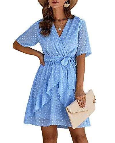 Sommerkleid Damen Kurzarm Elegant V-Ausschnitt Knopfleiste Polka Dot Kurze Strand Freizeitkleider mi Gürtel (Z-Blau, Large)