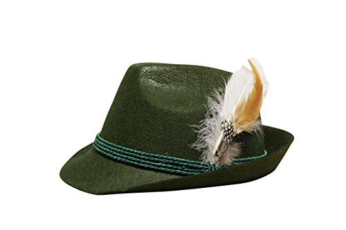 Edelnice Trachtenmode Trachten Filzhut mit echter Feder, Farbe moosgrün