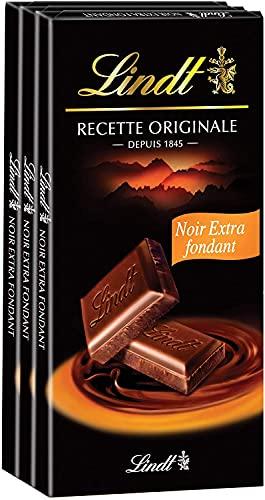 Lindt - Tablette Extra Fondant MAITRE CHOCOLATIER - Chocolat Noir - 110g - Lot de 3