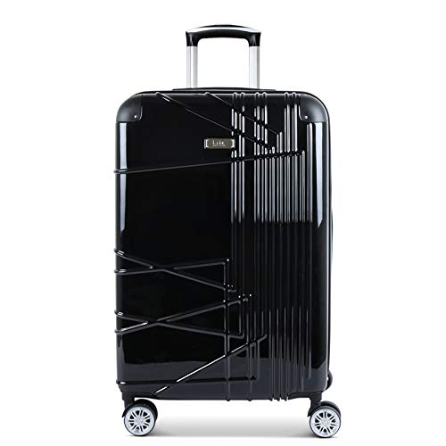 Nicole Miller Trixy Expandable Hardside 24'' Upright Luggage Spinner (24in, Black)