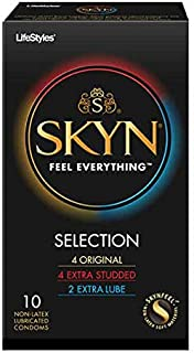 Lifestyles SKYN Selection Sampler, Premium Lubricated Non-Latex Polyisoprene Condoms with Classy Brass Pocket/Travel Case-10 Count