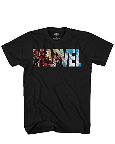 Marvel Logo Ironman Iron Man Avengers Super Hero Adult Graphic Men's T-Shirt (Black, X-Large)