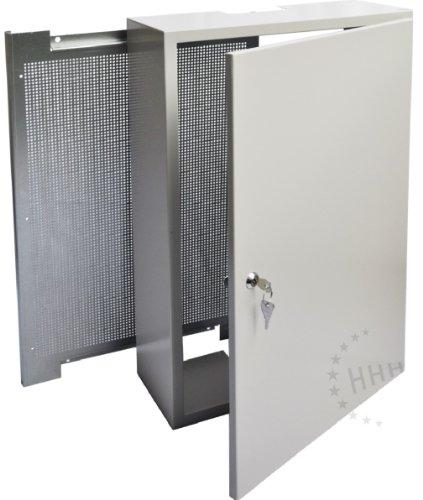 Antennenschrank Montageschrank mit FEUERFESTER Lochrückwand, hellgrau, 40x60x15 cm (3H-AC406015)
