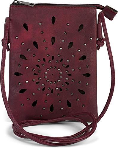 styleBREAKER Damen Mini Bag Umhängetasche mit Cutouts in Ethno Blumen Form und Nieten, Schultertasche, Handtasche, Tasche 02012304, Farbe:Bordeaux-Violett