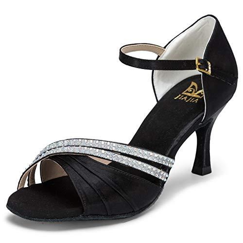 JIA JIA 20524 Damen Sandalen Ausgestelltes Heel Super-Satin mit Strass Latein Tanzschuhe Schwarz, 39