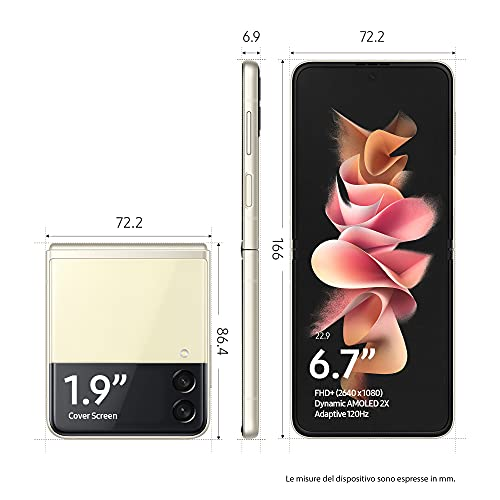 "Samsung Galaxy Z Flip3 5G, Caricatore incluso, Smartphone Sim Free Android Telefono Pieghevole 128GB Display Dynamic AMOLED 2X 6,7""/Super AMOLED 1,9"" Cream 2021 [Versione Italiana]"