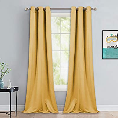 NICETOWN Yellow Blackout Drapes - Window Treatment Light Blocking Privacy Curtain Panels for Home Decoration (Set of 2, 42 inches by 90-inch)