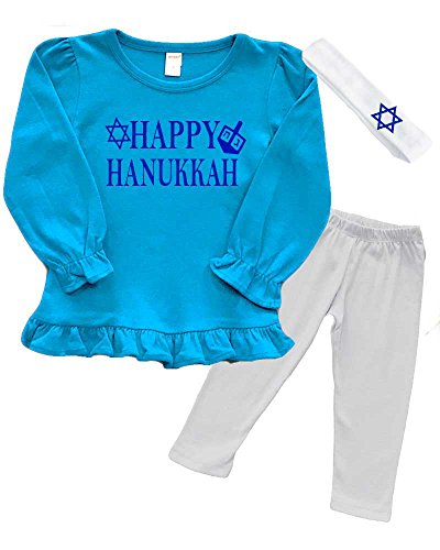 Girls Hanukkah Outfit - Happy Hanukkah (Turquoise, 2y)