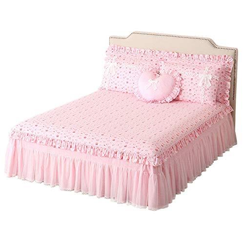 GOPG - Falda de cama de algodón con volantes, suave, antideslizante, a prueba de polvo, transpirable, antidecoloración, para cama individual, doble, Queen, 100% algodón, Rosa, Bed 200x220cm(79x87inch)