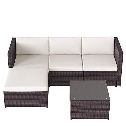 Y&J Poly Rattan Lounge-Sofagarnitur, Lounge-Gartenmöbel, Ecksofa, Couchgarnitur mit Sitz- und Rückenkissen, Lounge-Tisch mit Glasplatte, Braun