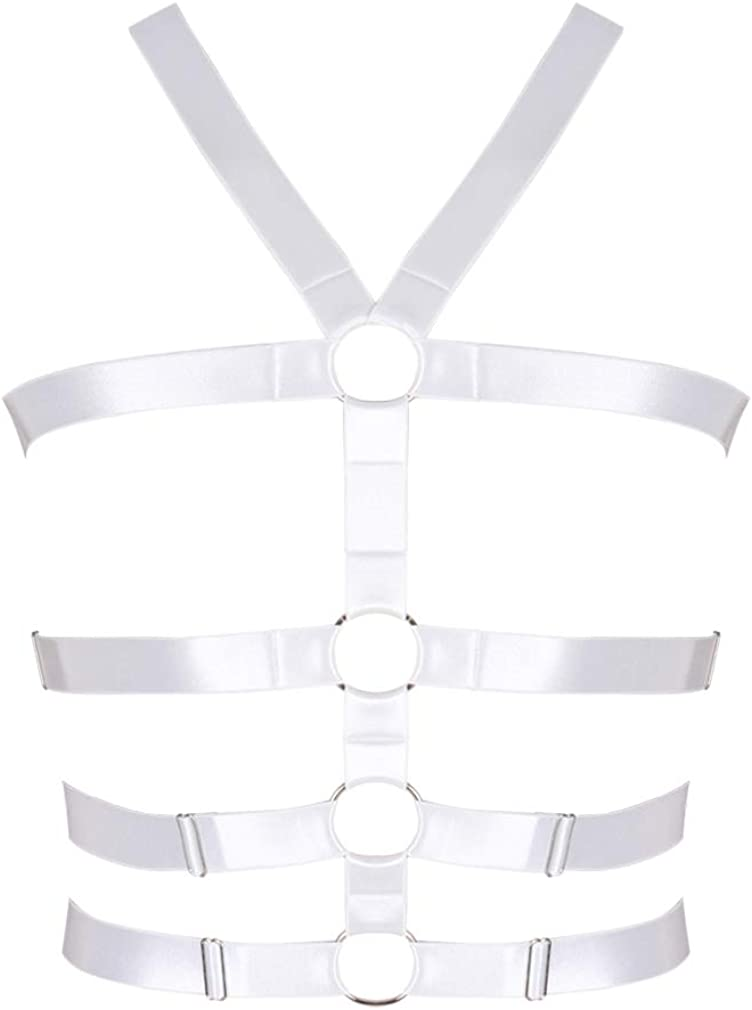Men's Strappy Tops Harness Waist Belts Hollow Out Cupless Caged Body Punk Gothic Dance Rave Costume (White)