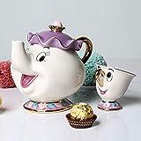 ZMEETY Taza de Tetera de la Bella y la Bestia de Dibujos Animados Mrs Potts Chip Tea Pot Cup One Set Precioso