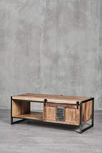 carla&marge von Hand gefertigter Couchtisch Massivholz Thorkas aus Mango Holz, Sofatisch Vintage/Industrial Design, 2 Schiebetüren, 120 x 60 x 45 cm (B x H x T)