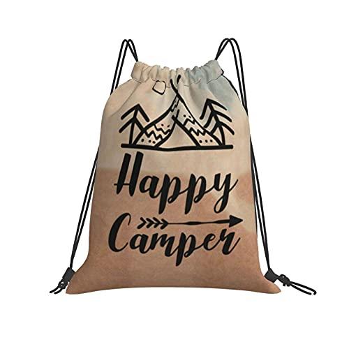 QUEMIN Mochila con cordón Mochila Happy Camper Gym Mochila para