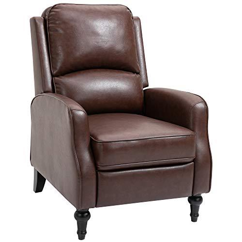 homcom Poltrona Relax Reclinabile 90° e 150° Manuale per TV, Soggiorno, Camera, Design Moderno in Pelle 73x86x104cm